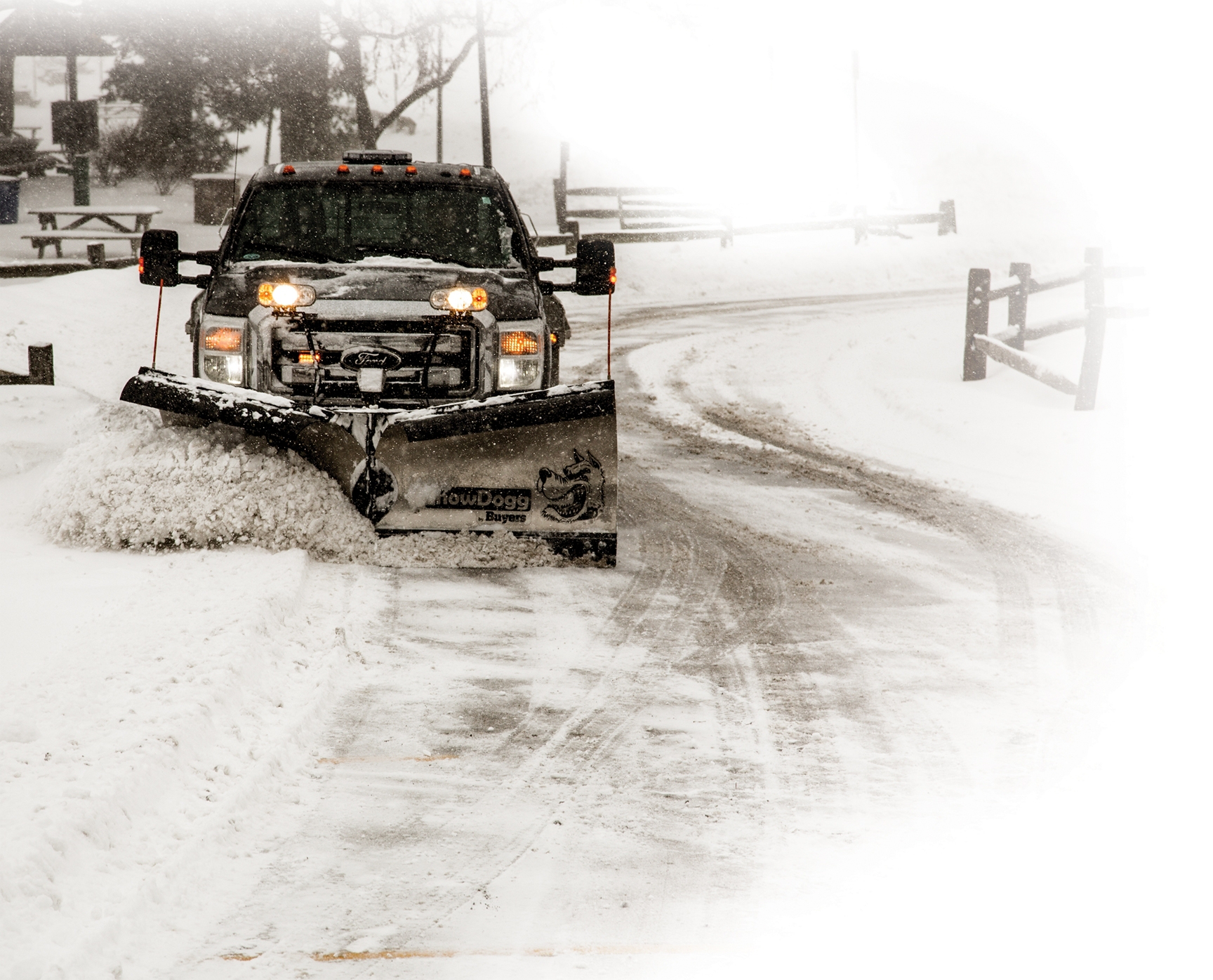 Pre season check snow plow vehicle prep medium duty work truck info - Autumn plowing time all set for winter ...