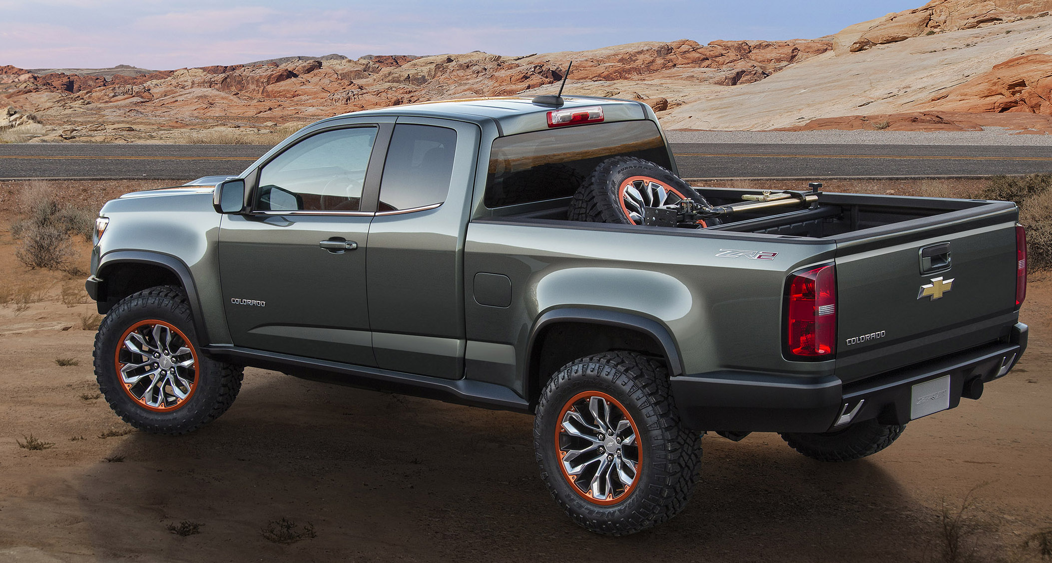 Chevrolet Colorado Zr2 Concept Featuring The 2 8l Duramax Turbo Sel Taking Off