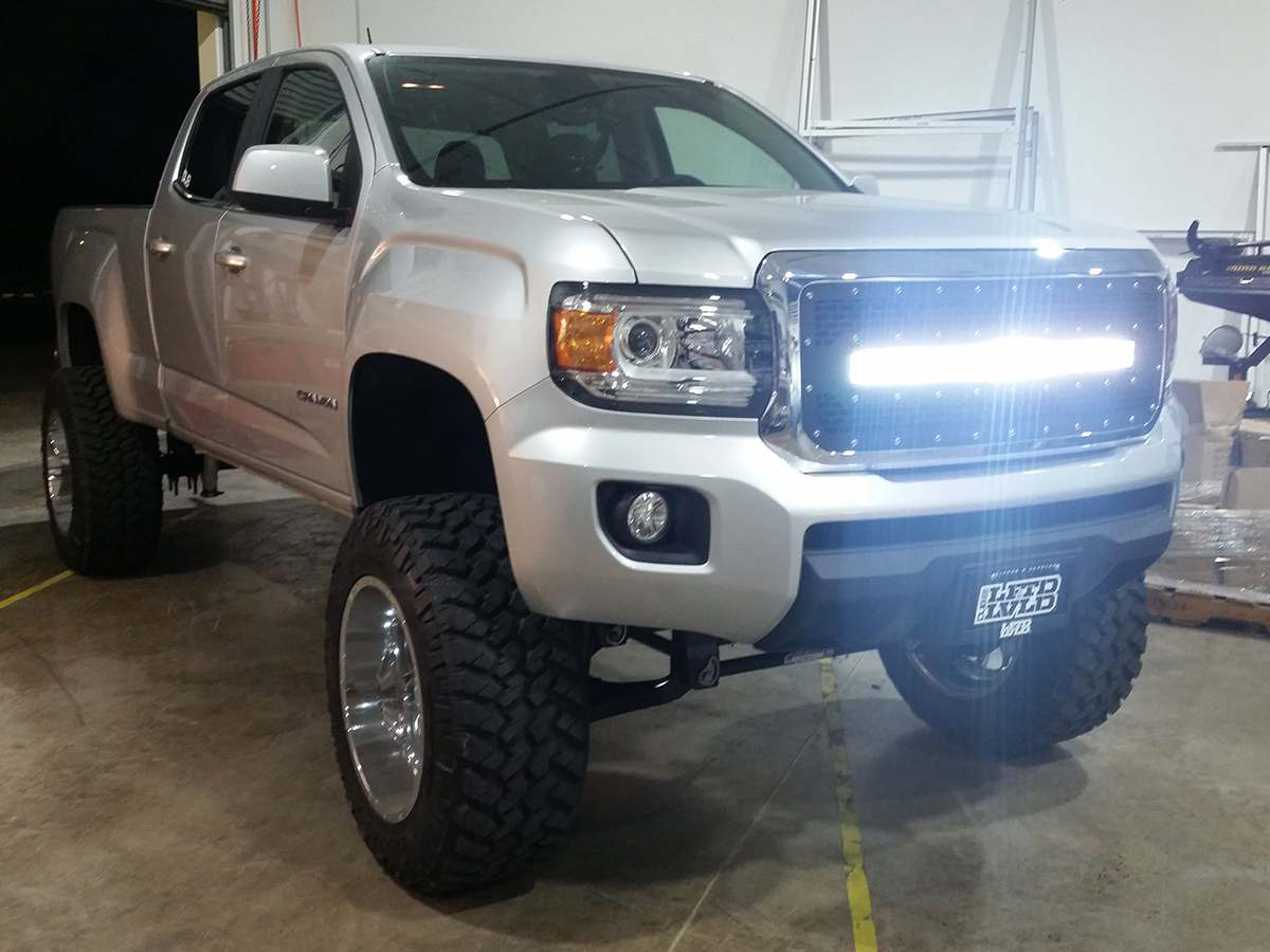 Led grille bar for 2015 gmc canyon medium duty work truck info 41595 2015 gmc canyon led grille application 5 aloadofball Images