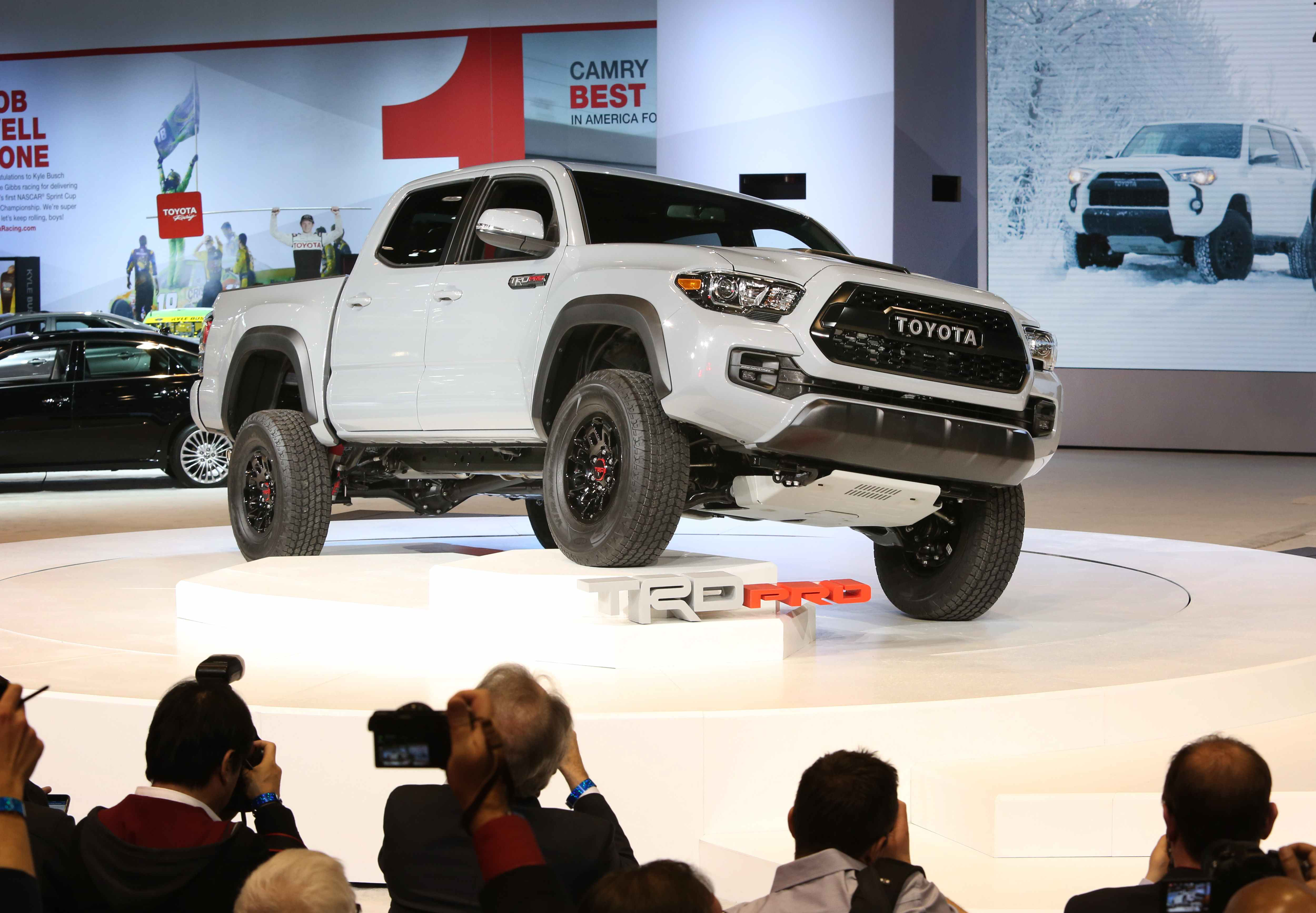 The Toyota 2017 Tacoma Trd Pro Was Unveiled This Week At Chicago Auto Show One Of Its Available Colors Is Super White