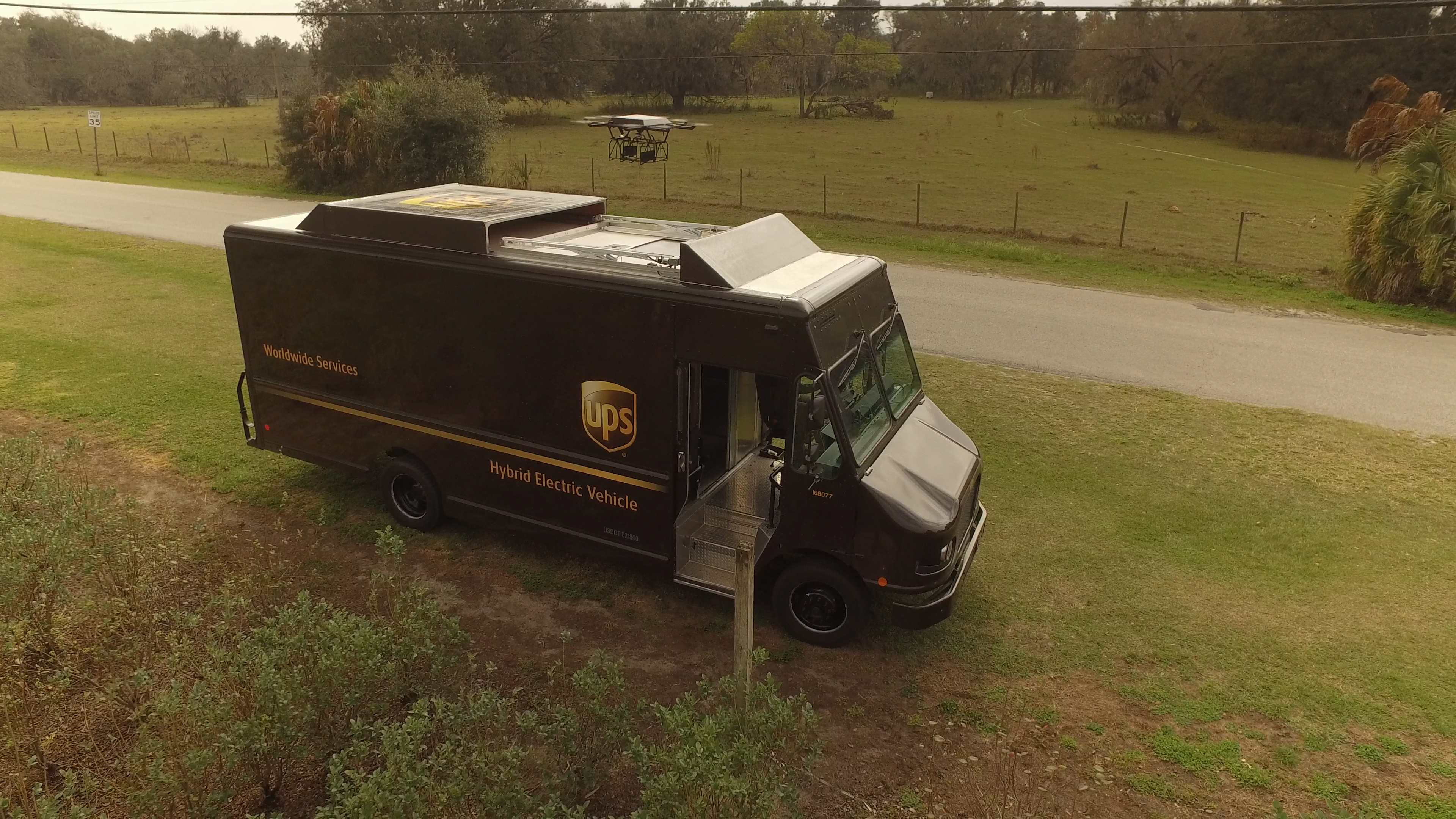 UPS successfully tested a drone from one of its trucks Monday in Florida.