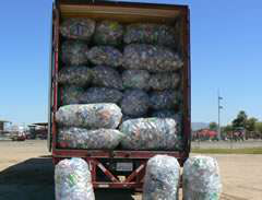 CalRecycle photo of aluminum cans seized during March 16 sting near Intake Blvd. and Hobson Way in Blythe, Calif.
