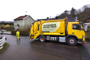Volvo Group announced today that it paired up with a waste company in Sweden to test a self-driving refuse truck.