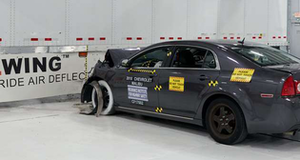 In the AngelWing test, IIHS says underride guard bent but kept the car from going underneath the trailer.
