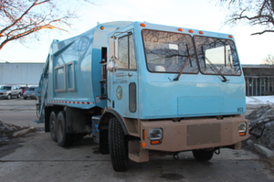The nation's first refuse truck, shown above, was put into service in Chicago in 2014.