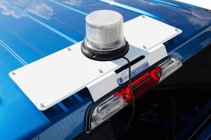 Mount a light to Larson Electronics' no-drill mounting plate instead of drilling through your 2017 Ford Super Duty.