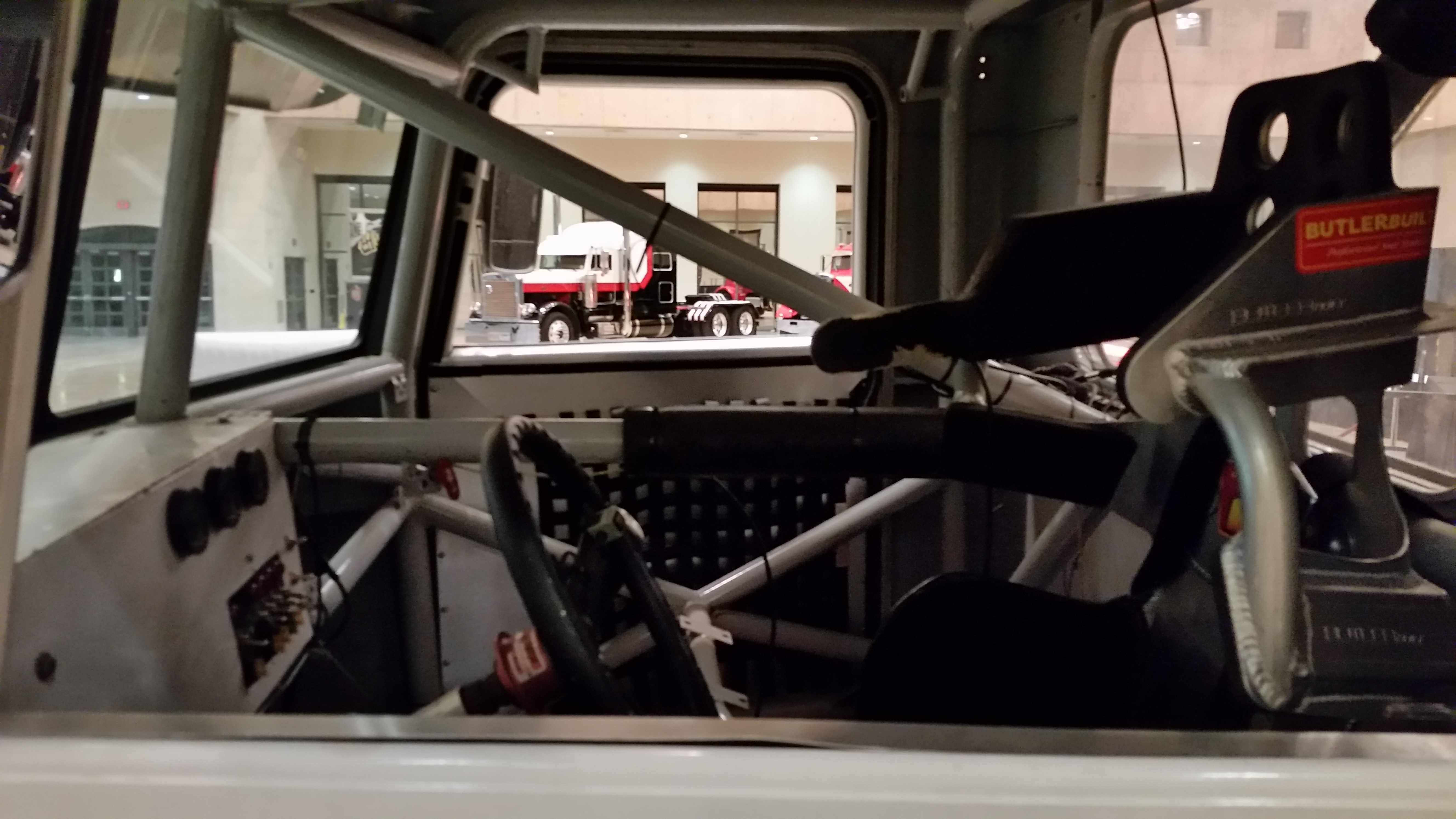 Inside cab view of racing semi truck