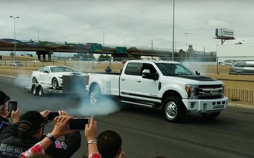 Shelby 1000 F-350 dually smokes its tires with massive ...