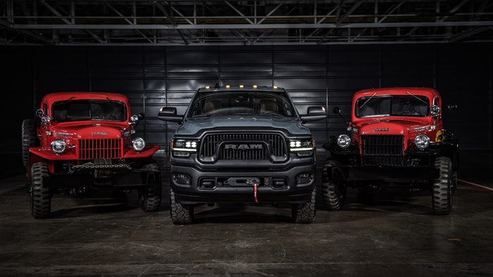 (From Left to Right) 1946 Dodge Power Wagon, 2021 Ram Power Wago