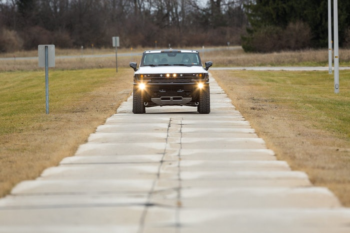 The GMC HUMMER EV arrived at GM's Milford Proving Grounds to c