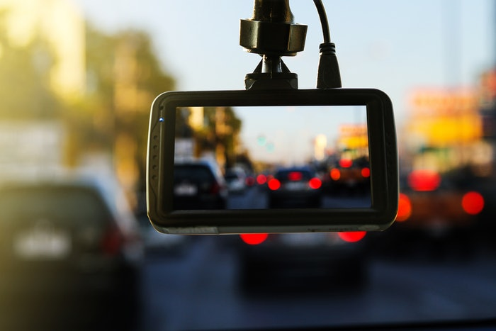 dash camera in use during heavy traffic