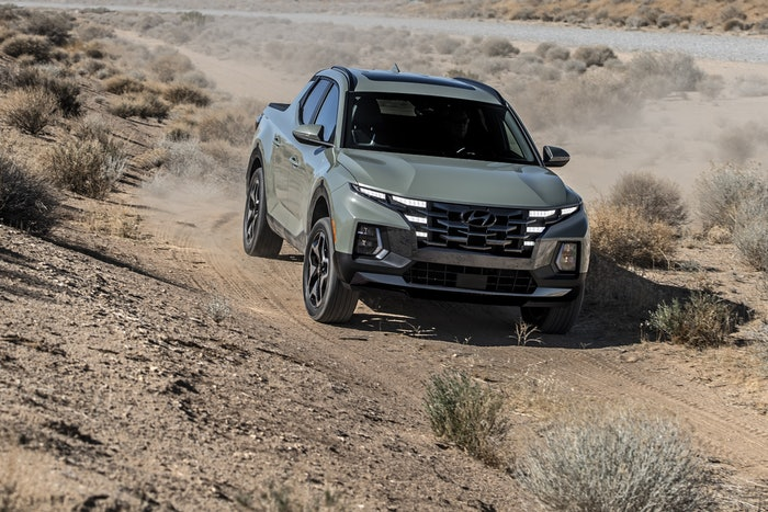 The Hyundai Santa Cruz shown above looks like a compact truck while off-roading. Photos below make it look like a crossover with a small bed. Hyundai says it's neither. Either way, there could be some fleet appeal here given its power, versatility and convenient size.