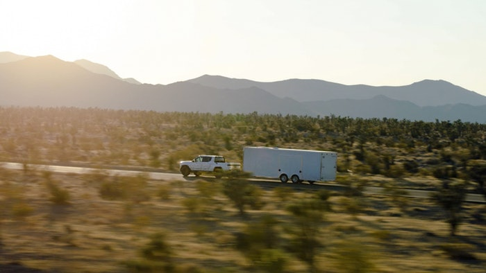 The Rivian R1T maxes out at 11,000 pounds towing and is available with Trailer Assist 'to let your vehicle help with some of the more difficult maneuvers when towing,' according to Rivian's website.