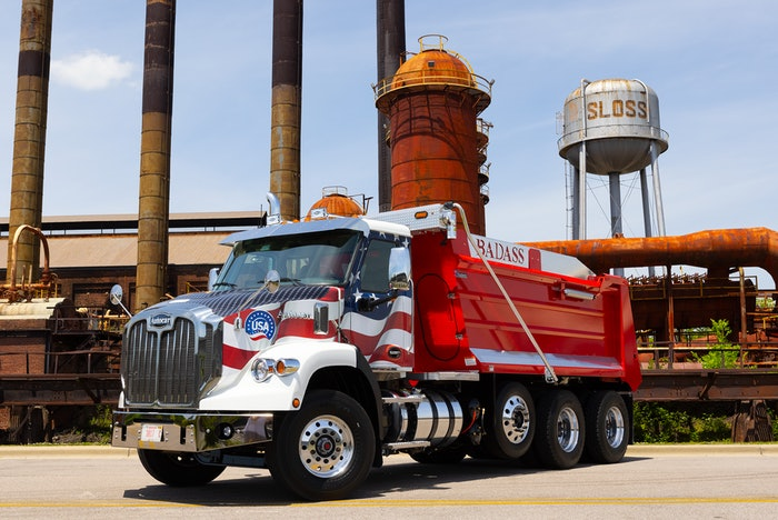 Making truck history sometimes calls for a historic backdrop. Autocar's BADASS dump truck, assembled in Birmingham, Ala., is shown at Sloss Furnaces, a National Historic Landmark in Birmingham.