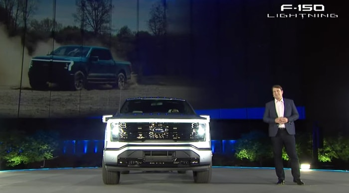 Ford CEO Jim Farley praised his company's first electric F-150 last night during its reveal at Ford World Headquarters in Dearborn, Michigan. 'It hauls ass and tows like a beast,' he said.