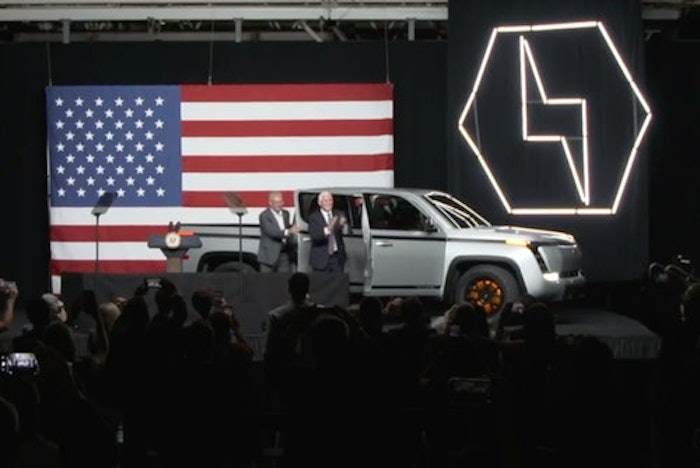 Former U.S. Vice President Mike Pence participated in Lordstown's launch last year of its all-electric pickup. The company is now 'in substantial doubt' about its future.