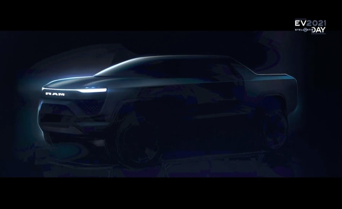 Concept drawing of an all-electric Ram 1500 pickup revealed at Stellantis' EV Day 2021 held late last week.