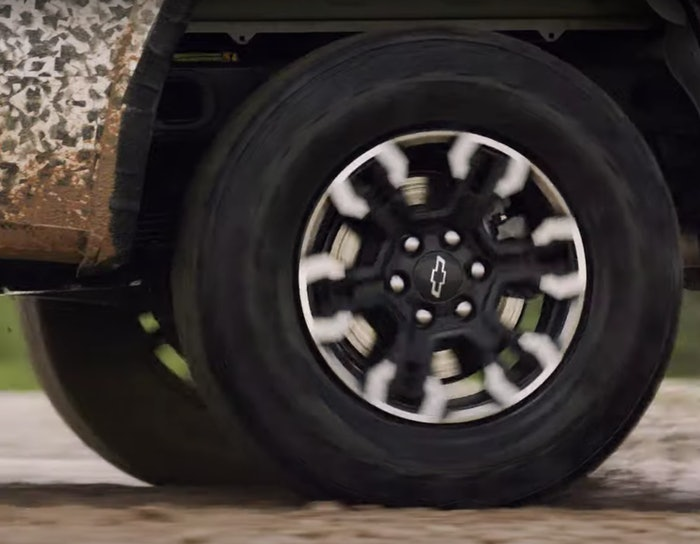 Screenshot of the wheel on the new 2022 Chevy Silverado ZR2. More intriguing is the roar coming from under the hood.