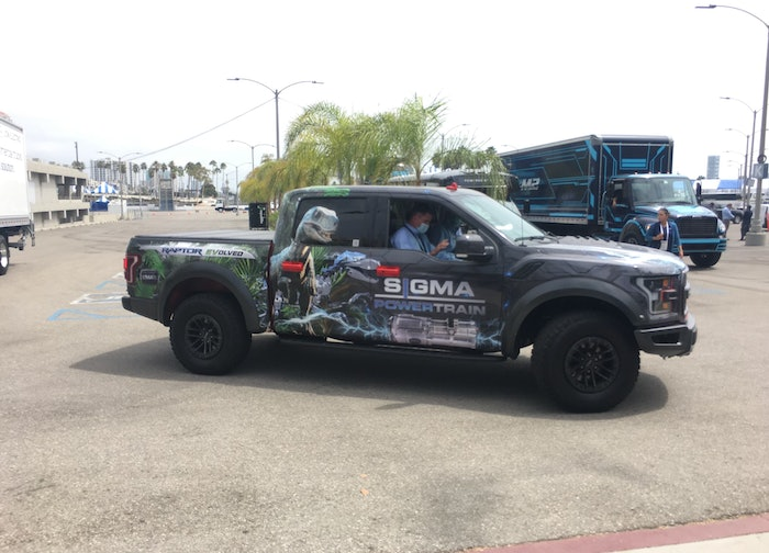 The F-150 Raptor EVolved shown here during a Ride-n-Drive event at the Advanced Clean Transportation Expo this week in Long Beach, Calif.