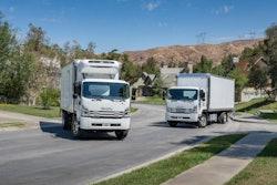 trucks in a neighborhood