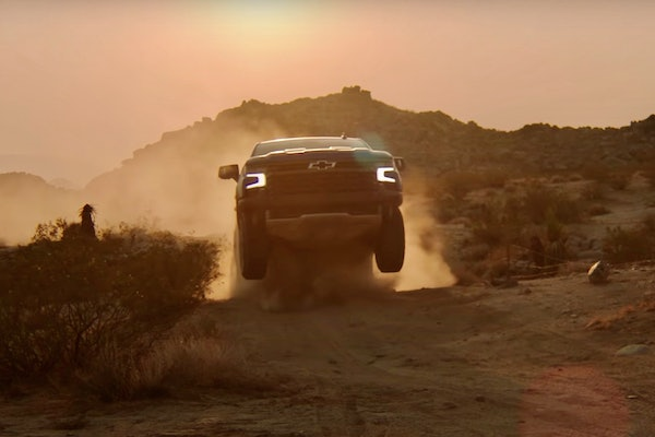 Not your grandpa's Chevy. The 2022 Chevy Silverado ZR2 is shown taking on a jump, the new norm it seems when it comes to flexing half-ton muscle.
