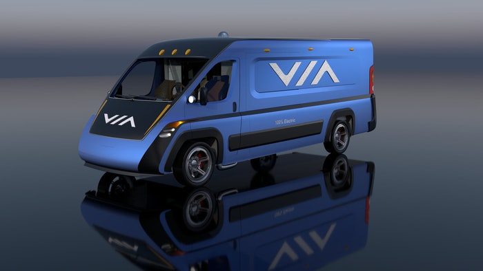 VIA Motors Class 2 electric cargo van is advertised with a 62-mile range.